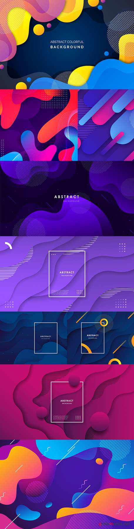 Abstract gradient wave background with colorful shapes