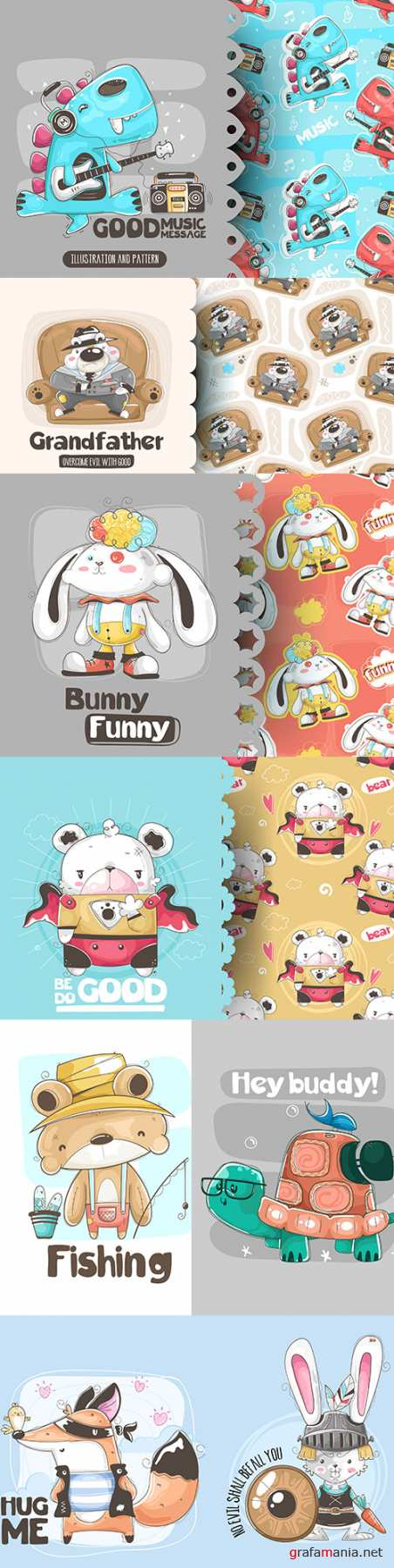 Cute cartoon animals and seamless background 12