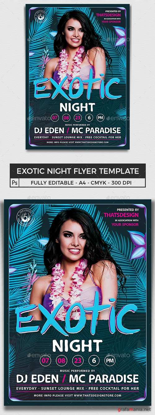 Exotic Night Flyer Template - 16211347 - 691261
