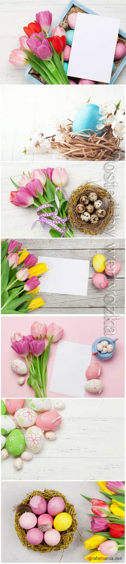 Happy Easter stock photo, Easter eggs, spring flowers # 2