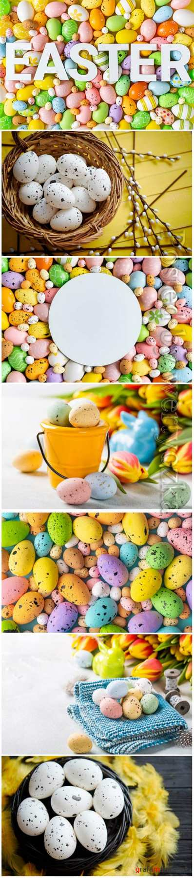Happy Easter stock photo, Easter eggs, spring flowers # 5