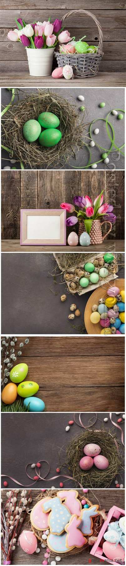 Happy Easter stock photo, Easter eggs, spring flowers # 4