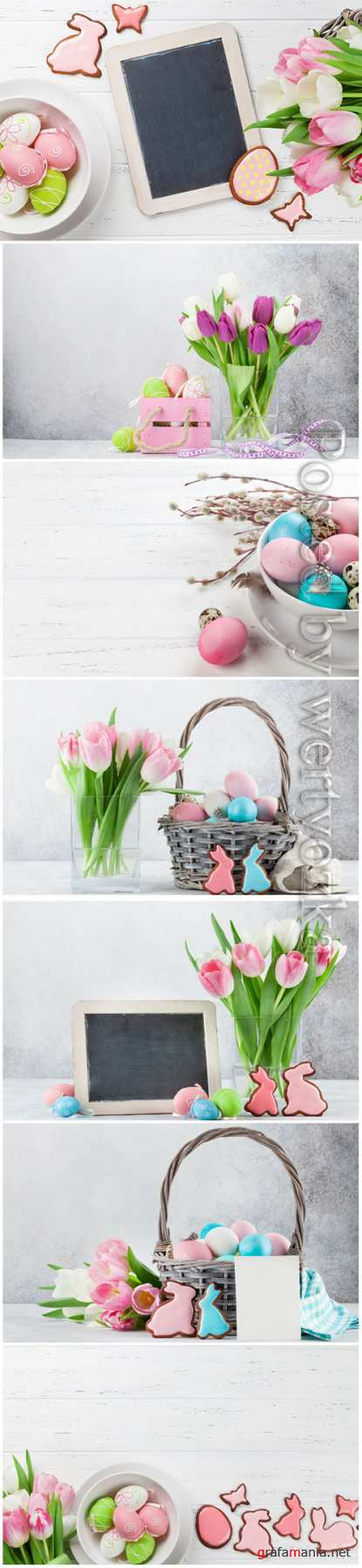 Happy Easter stock photo, Easter eggs, spring flowers