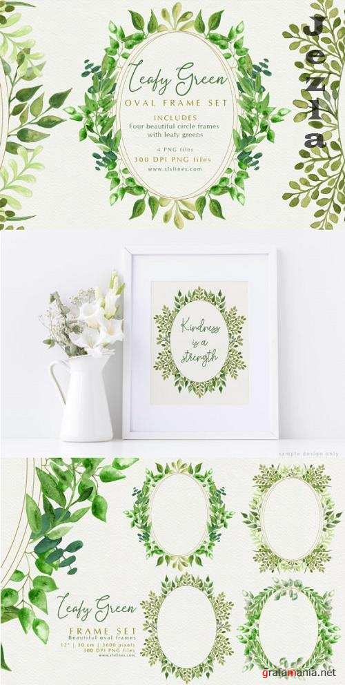Beautiful Oval Leafy Green Frames