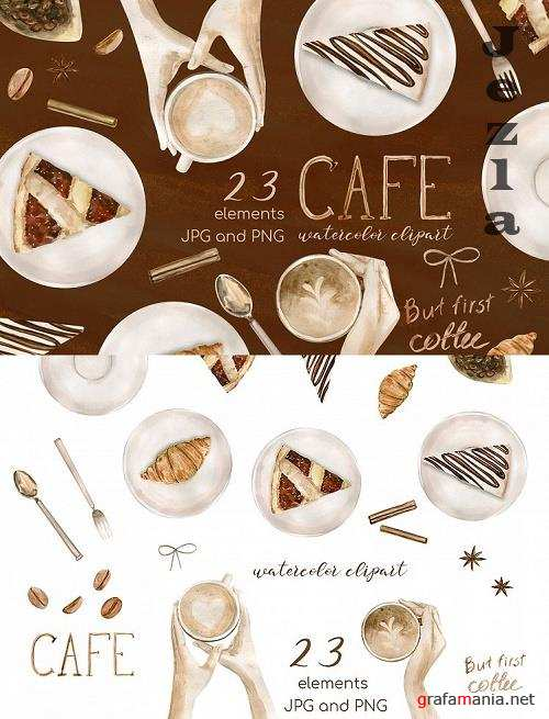 Watercolor Coffee Clipart Set. Cake clipart, food clipart - 522262