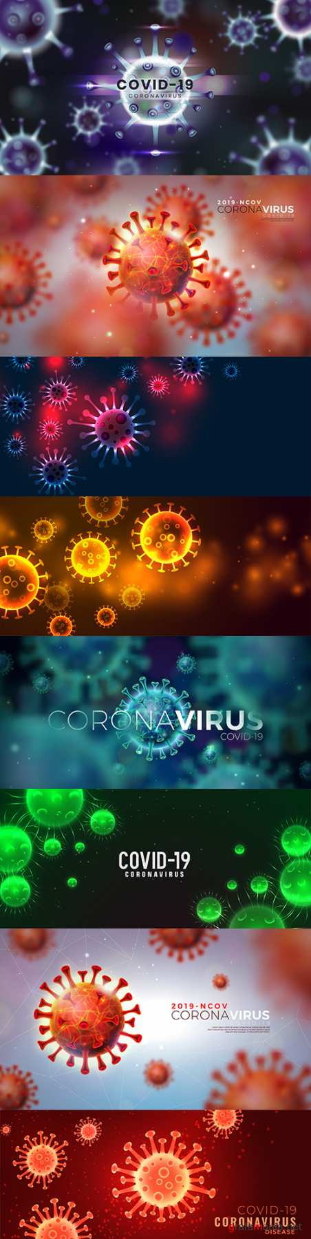 Covid-19 coronavirus flash design with virus cell background