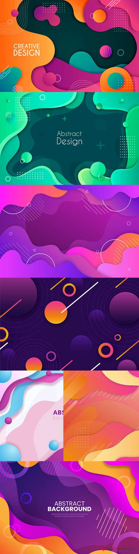 Abstract gradient wave background with colorful shapes 4