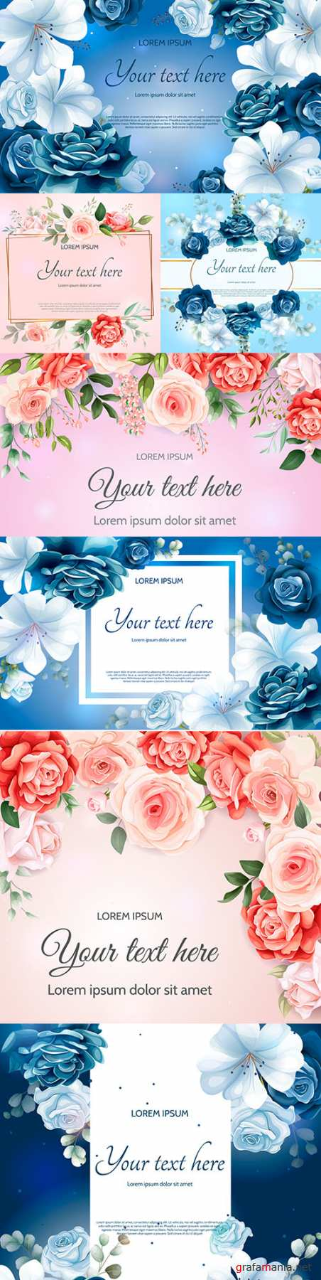 Beautiful spring floral paper template for design