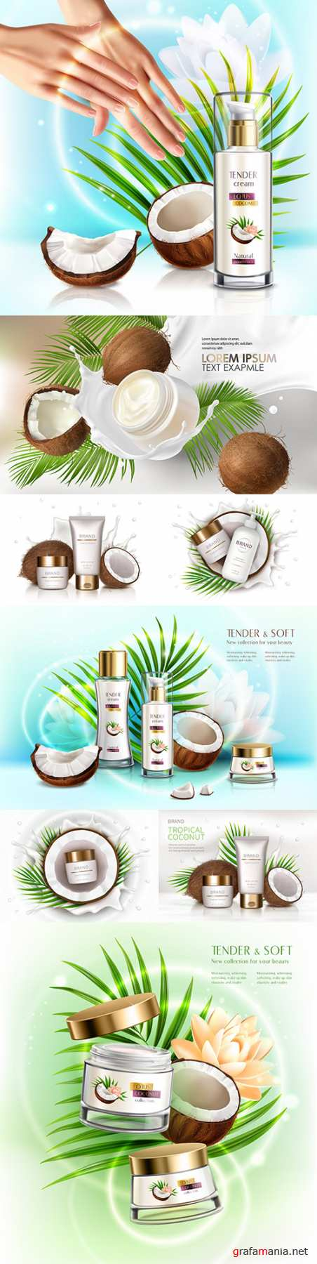Natural coconut cosmetics for skin care with dispenser