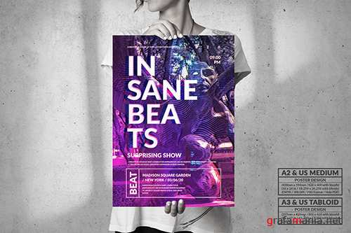 Insane Beats Music - Big Party Poster Design