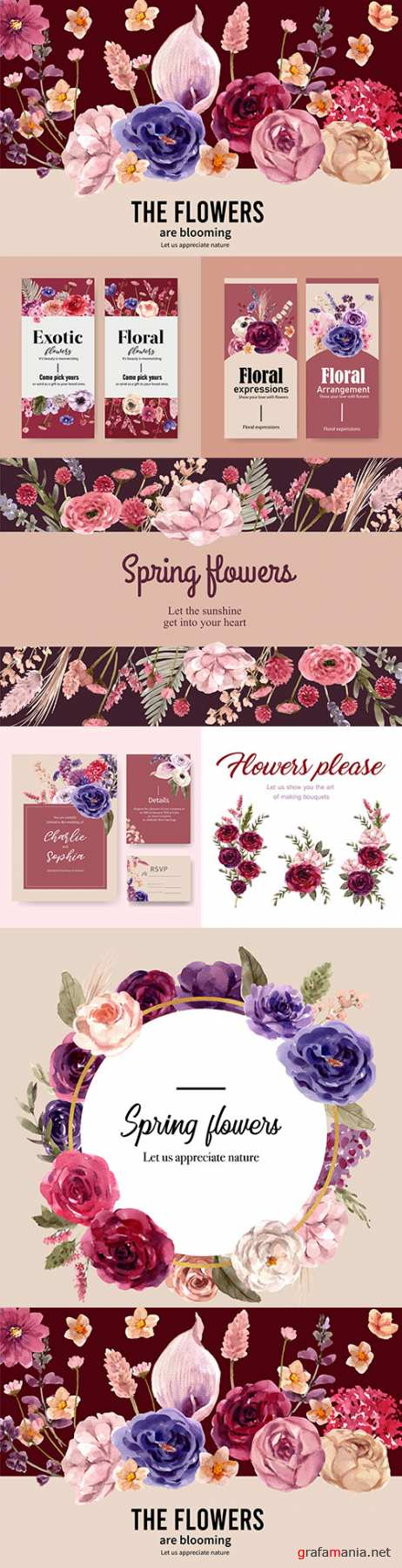 Floral wine wedding postcard watercolor illustration