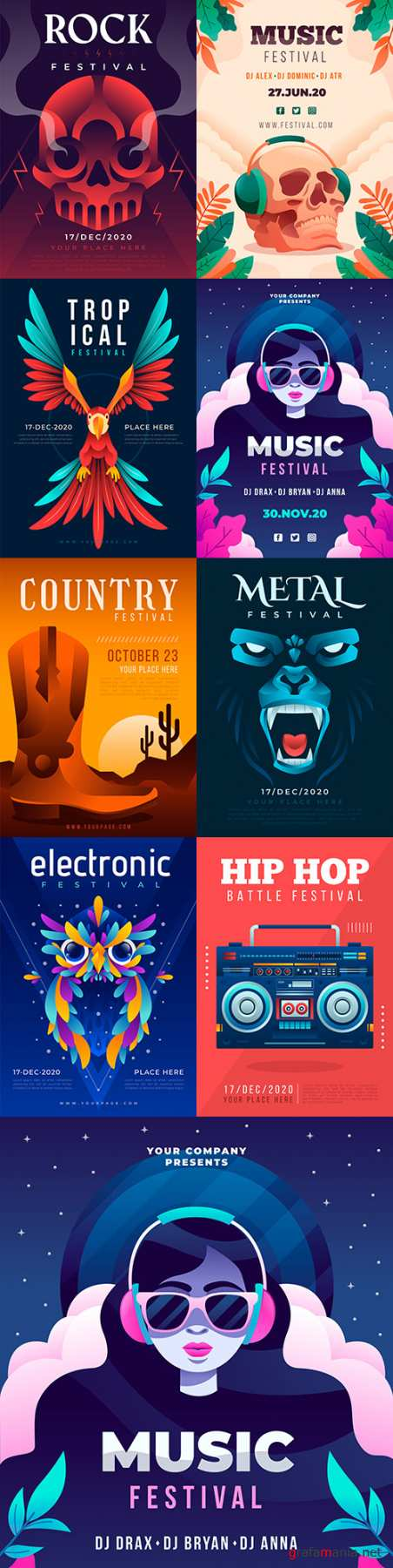 Music poster different genres illustrated design