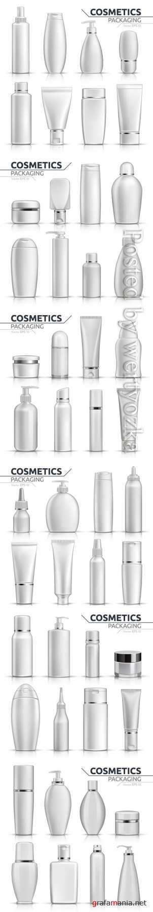 Vector packaging tubes collections, bottles mock up set