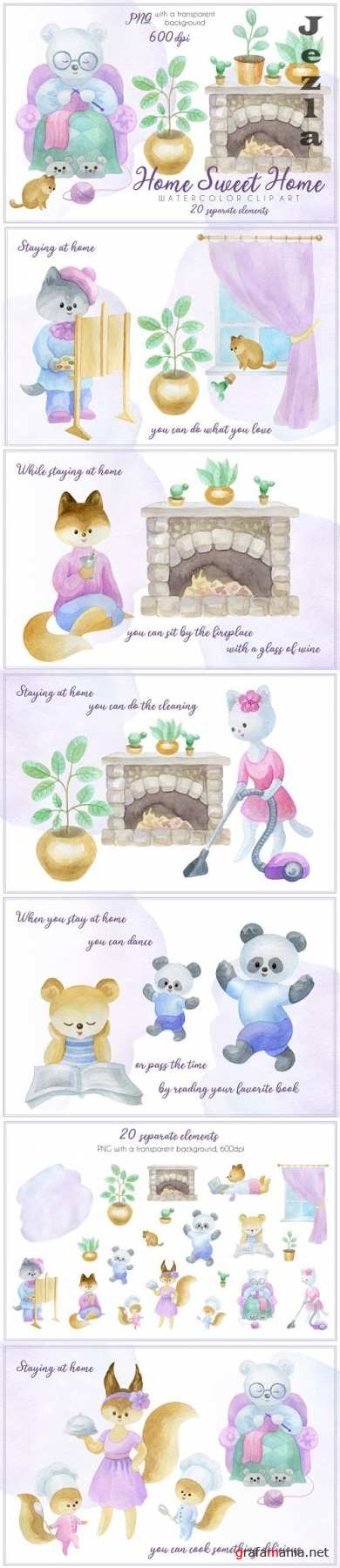 Home sweet home. Watercolor clip art - 532917