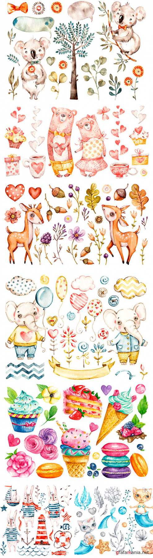 Cute animals, flowers and sweets watercolor illustrations