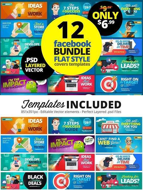 12 FB Covers BUNDLE! Flat Style - 1877571
