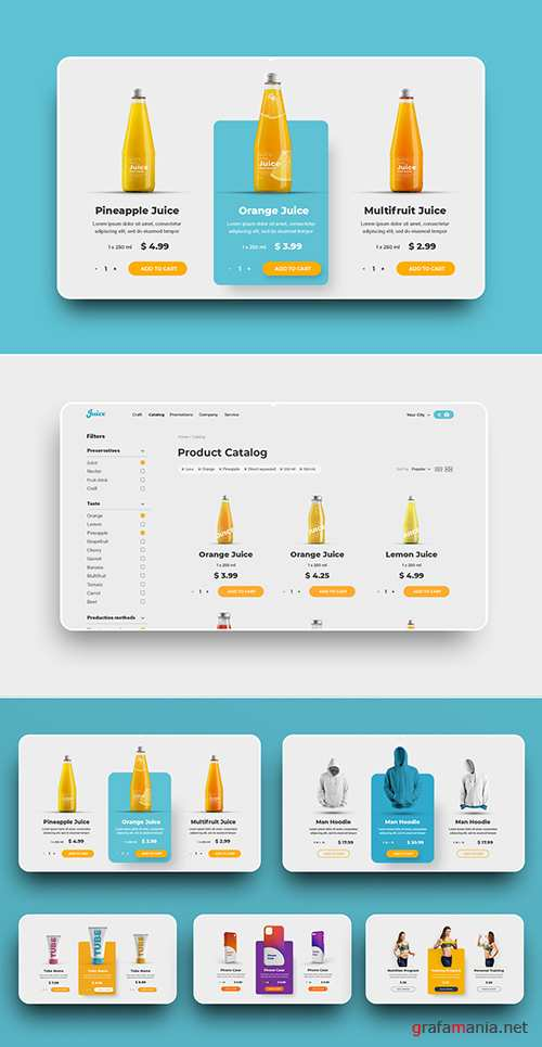 Digital UI Product Cards Layout Set 309035129 PSDT