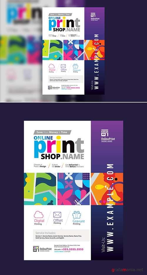 Print Shop Poster Layout with Colorful Graphics 302490850 PSDT