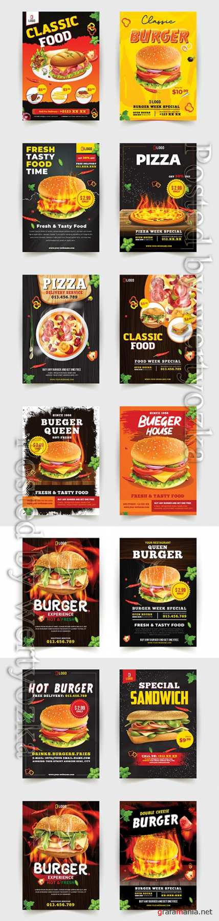 Fast food flyer design template cooking, cafe and restaurant menu