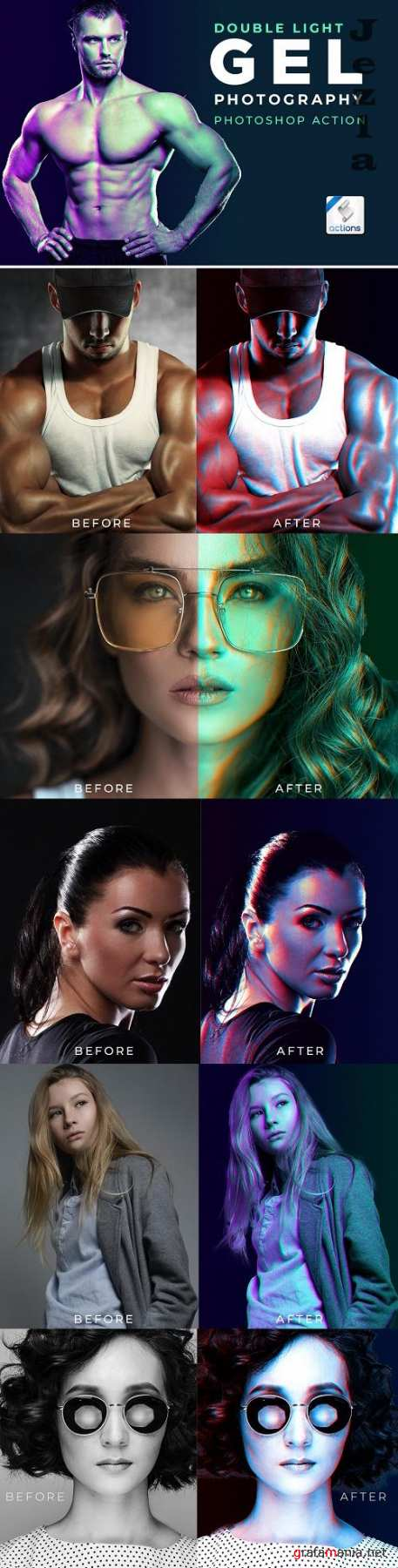 Dual Lighting Gel Photoshop Action - 520322