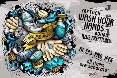 Wash Your Hands Vector Illustration