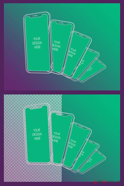 5 Wireframe Smartphones Screen Mockups with Transparent Background 337076679