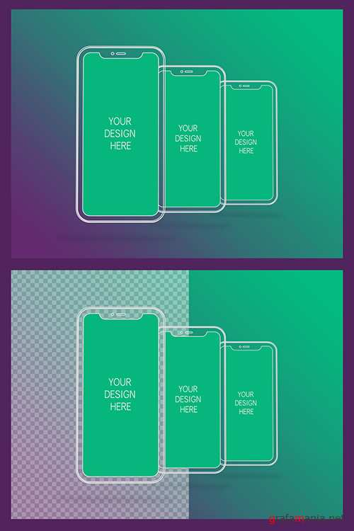 3 Wireframe Smartphones Screen Mockups with Transparent Background 337056964