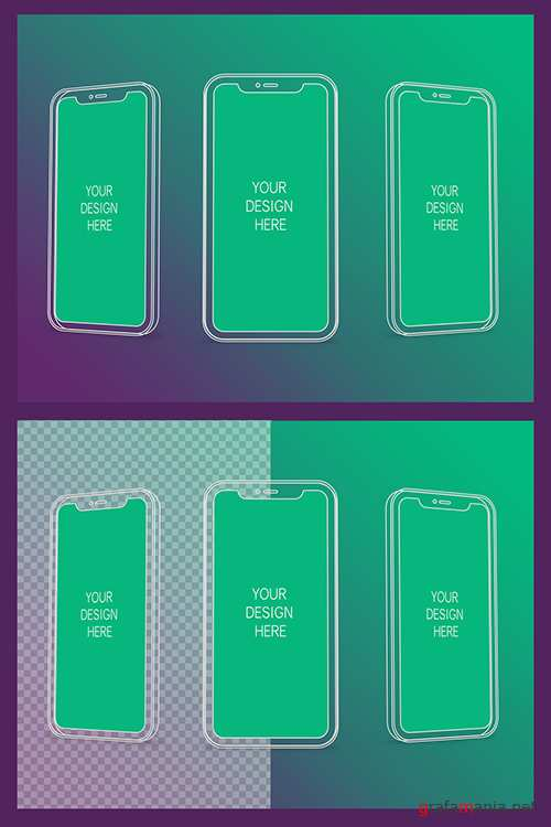 3 Wireframe Smartphones Screen Mockups with Transparent Background 337060187