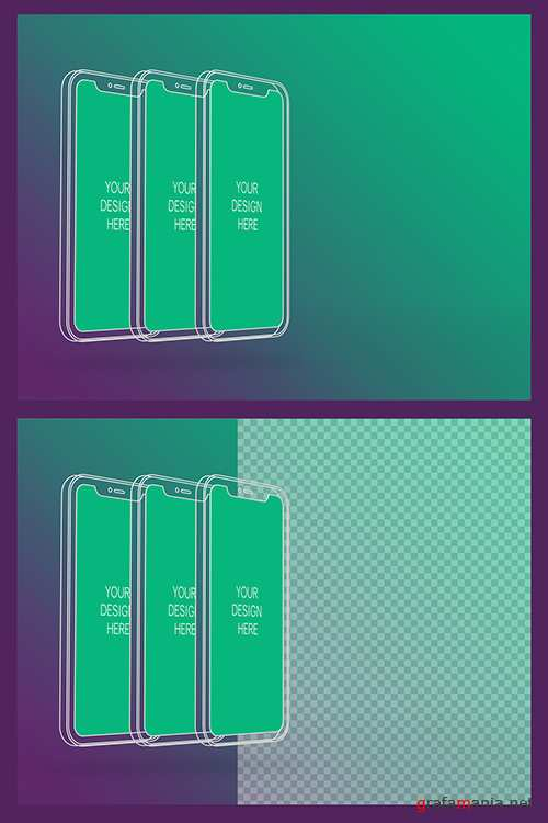 3 Wireframe Smartphones Screen Mockups with Transparent Background 337059219