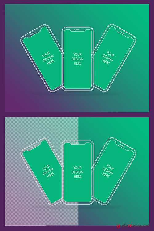 3 Wireframe Smartphones Screen Mockups with Transparent Background 337056004