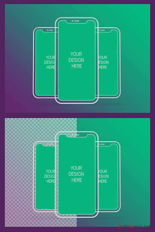 3 Wireframe Smartphones Screen Mockups with Transparent Background 337058987