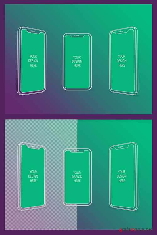 3 Wireframe Smartphones Screen Mockups with Transparent Background 337059928