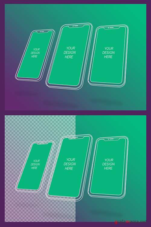 3 Wireframe Smartphones Screen Mockups with Transparent Background 337056267