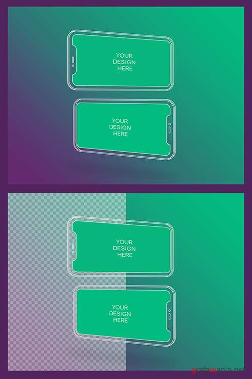 2 Wireframe Smartphone Screen Mockups with Transparent Background 337054986