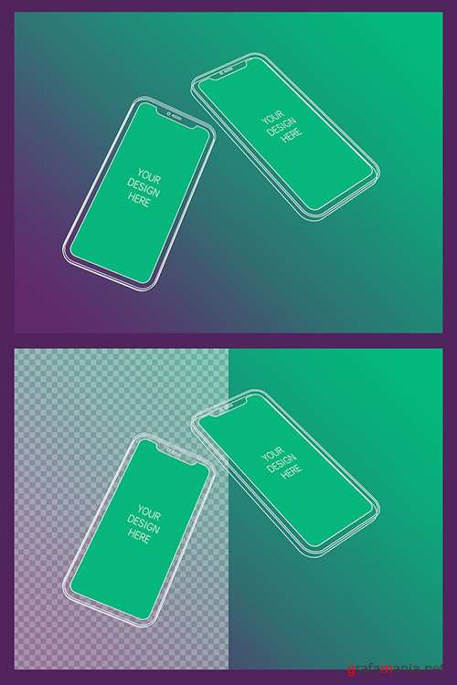2 Wireframe Smartphones Screen Mockups with Transparent Background 337055310