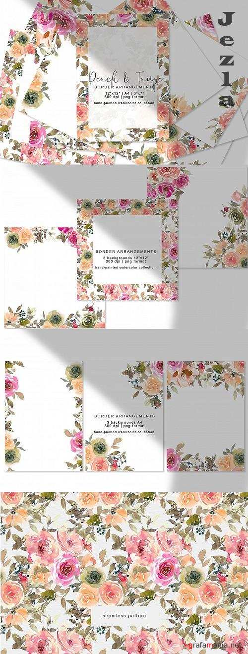 Peach and Taupe Watercolor Floral Border Arrangements - 538600