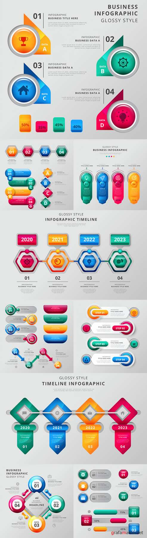 Business infographics options elements collection 150