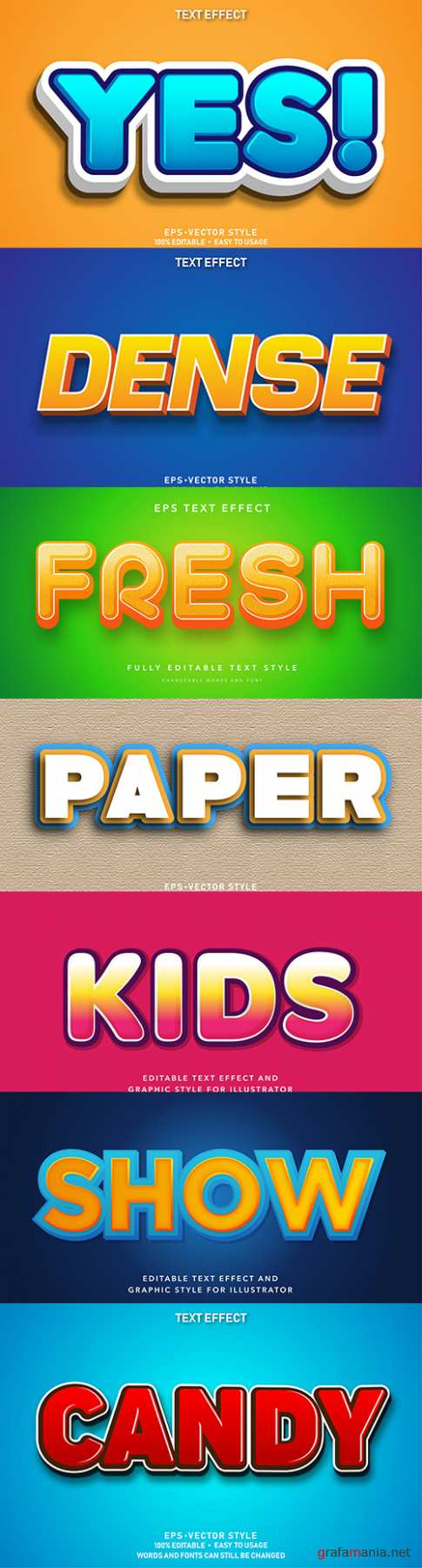 Editable font effect text collection illustration design 58