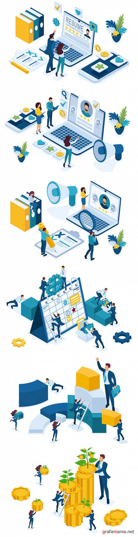 Isometric business data for analysis and employee personnel manager