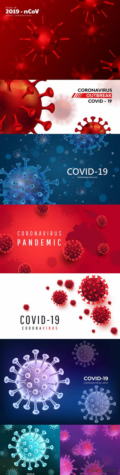 Coronavirus 2019-ncov background with realistic viral cells 5