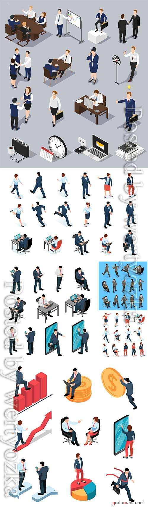 Business men and women isometric set