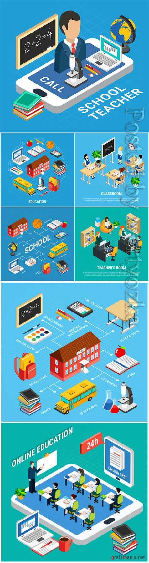 Isometric education illustration with school teacher and devices