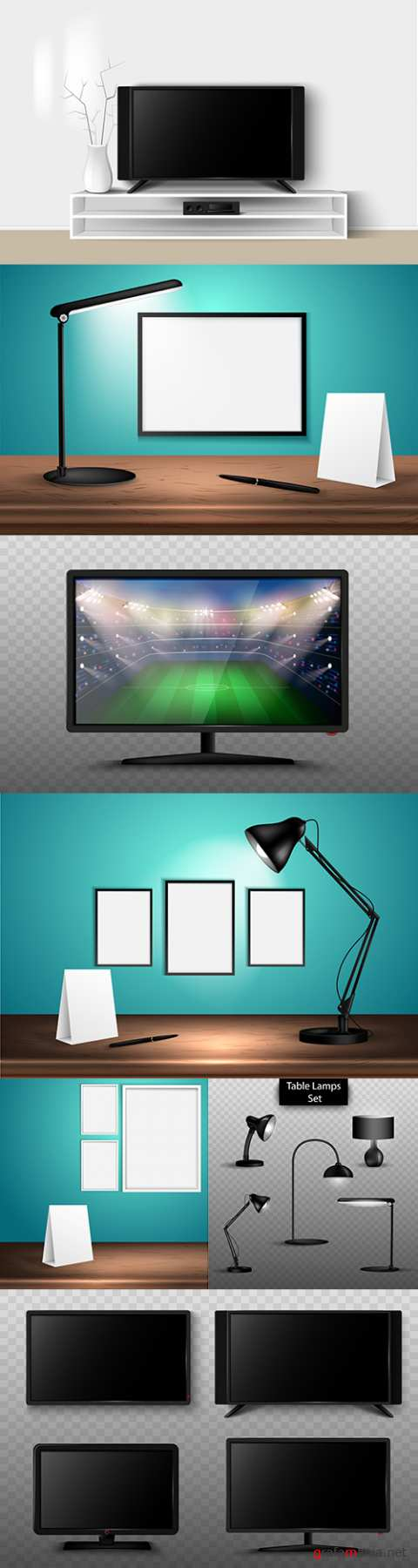 Table lamp and TV on wooden table 3d illustrations