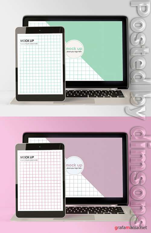 Front Laptop and Tablet Mockup 337042187