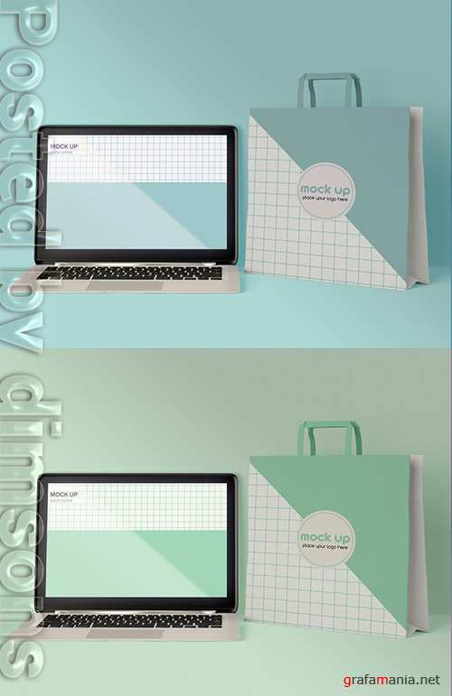 Front Laptop and Paper Bag Mockup 337042163