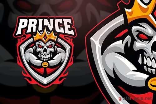 Prince Skull Esport and Sport Logo Template