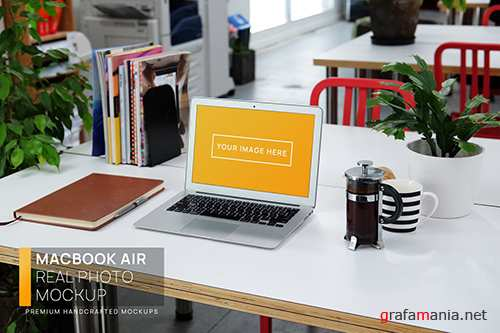 MacBook Air White Desk Workspace Real Photo Mockup