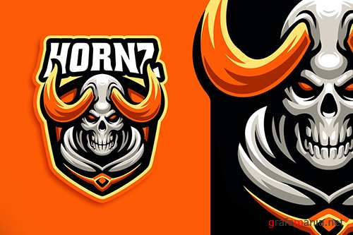 Hornz Skull Esport and Sport Logo Template