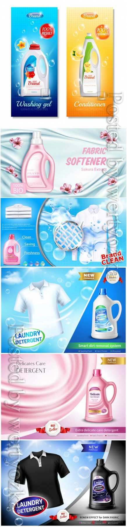Laundry conditioners, washing powders in vector