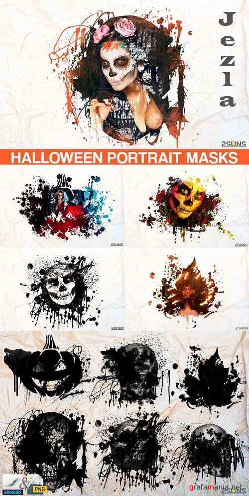 20 Beautiful portrait paint masks, halloween, Photoshop Overlays - 564110